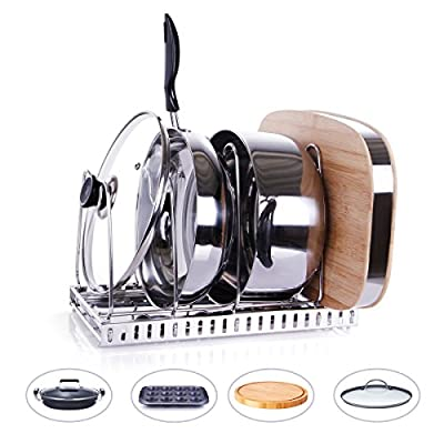 Leapair Pot Organizer Lid and Pan Organizer Rack Stainless Steel Adjustable Kitchenware Cookware Drying Rack Kitchen Cabinet Pantry and Countertop Organizer