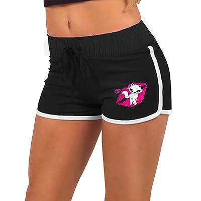 Anneil Women's Kiss Cartoon Cat Love Vector Yoga Shorts Low Waist Shorts Running Sports Shorts