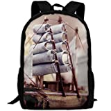 OIlXKV Little Ship On The Ocean Print Custom Casual School Bag Backpack Multipurpose Travel Daypack For Adult