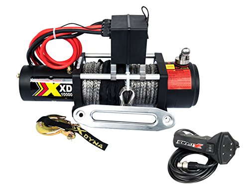 High Speed 10000lbs +Big 6.6HP Motor Winch With Torque Limited Protector, Intelligent Remote Handle Showing Load,Used To SUV Jeep Track, 100% Engaged Stainless Clutch, Synthetic Rope
