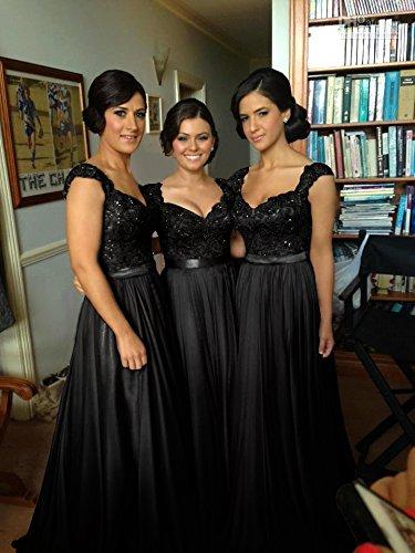A Chiffon Schwarz 8 Elegant Brautjungfernkleid Linie Spitze Farben 46 Maxilang in Abendkleid 32 Damen 4tqwXw