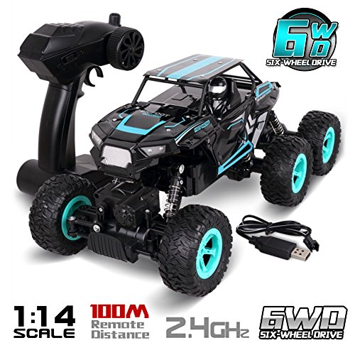 Rolytoy Large Size 1:14 Scale High Speed 6WD 2.4Ghz Remote Control Car Truck All-Terrain RTR Buggy, Radio Controlled Off-Road RC Car Electronic Rock Crawler R/C RTR Hobby Grade Cross-Country Car