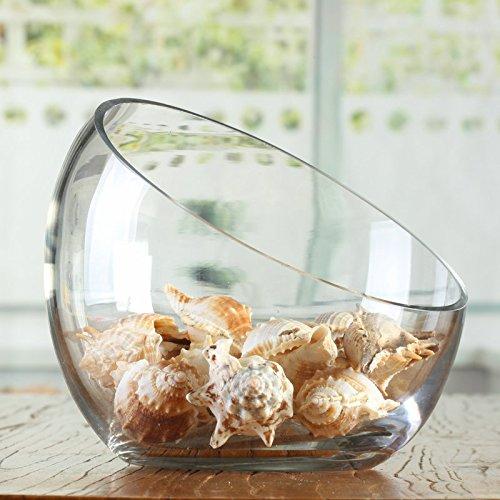 XY/&GK/Plateau /à fruits en verre transparent bouche oblique bol en verre moderne minimaliste europ/éenne Chandelier D/écoration Saladier,18.5*16cm,faire plus attrayant de votre maison