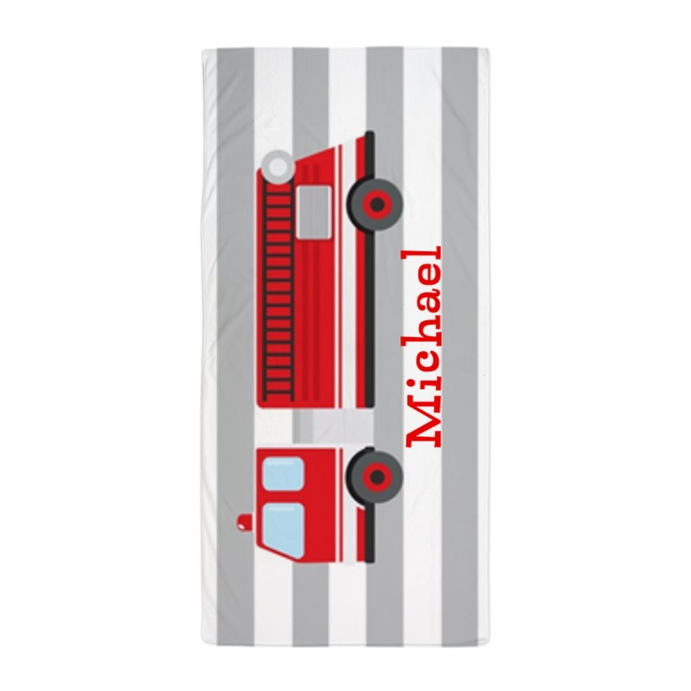 Personalized Kids Red Fire Truck Beach Towel Bath Towel 31.5 * 51.2inch Lilyco-Home