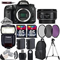 Canon EOS 7D Mark II DSLR Camera + 50mm 1.8 STM Lens + Speedlite 430EX III RT + 64GB Storage + Backup Battery + UV-CPL-FLD Filters + Wrist Grip Strap + Wireless Remote - International Version