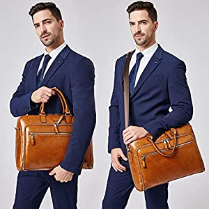 Cluci Oil Wax Genuine Leather Briefcases for Men Slim 15.6″ Laptop Case Business Messenger Carry On Shoulder Bags for Women Brown