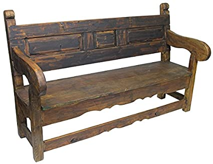 Amazon Com Rustic Old Door Mexican Colonial Bench Home Kitchen