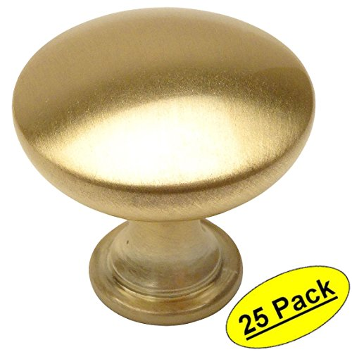 Brass Cabinet Hardware - Cosmas 5305BB Brushed Brass Traditional Round Solid Cabinet Hardware Knob - 1-1/4