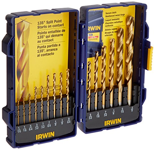 Irwin Tools 4935607 Titanium Coated High-Speed Steel Drill Bit Set, Pro Case, 15-Piece ()