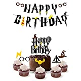 Wizard Birthday Party Supplies Set - Harry Potter Inspired Happy Birthday Banner, Cake Topper,Cupcake Toppers -Party Decorations