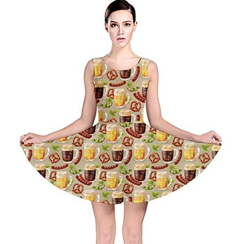 Dark Beer Hop Pretzel Sausage Pattern Skater Dress, Dark-XL