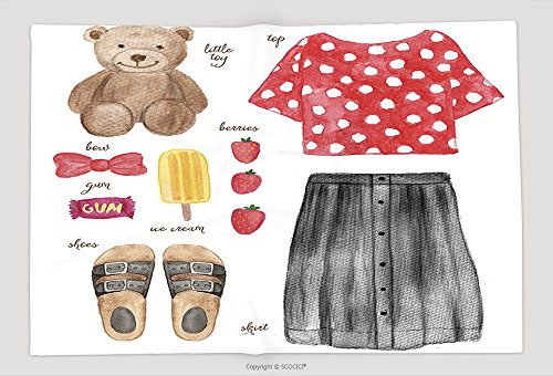 [Supersoft Fleece Throw Blanket Watercolor Fashion Illustration Baby Girl Outfit 290769191] (Katy Perry Outfit)