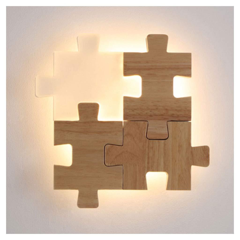 Steplessdimming 1 RENYAFEI Puzzle Wandleuchte Wandlampe Bett Wandlichter LED Acryl Gummiholz Modern Braun Schlafzimmer Wohnzimmer Flur Dekoration 12W (Mit Lichtquelle),Steplessdimming,1