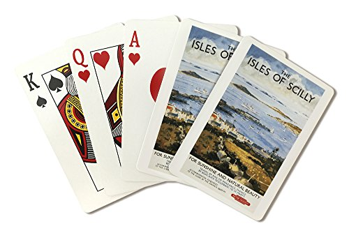 Town Docks (Scilly, England - Aerial Scene of Town and Dock Railway - Vintage Travel Poster (Playing Card Deck - 52 Card Poker Size with Jokers))