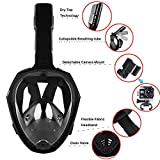 Newest Version Snorkel Mask Foldable 180 Panoramic View Free Breathing Full Face Snorkeling Mask,Foldable Adjustable Head Straps Snorkel Mask Training Dive Equipment for Kids(S/M,Black)