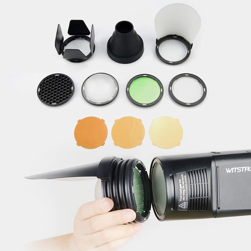 Godox H200R Flash Head + AK-R1 Barn Door, Snoot, Color Filter, Reflector, Honeycomb, Ball Diffuser Kits Compatible AD200 Flash