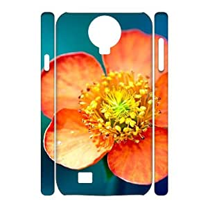 3D Samsung Galaxy S4 Case,Flower Macro Hard Shell Back Case for White Samsung Galaxy S4