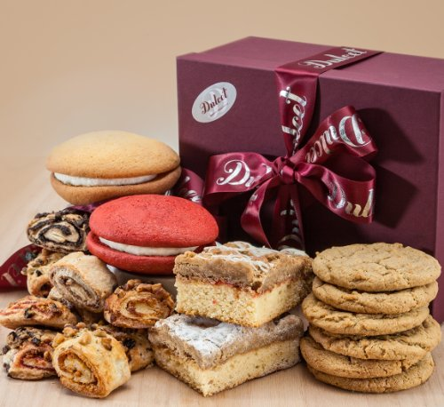 Dulcet's Gourmet Food Gift Basket - Includes: Peanut Butter Cookies, Old-fashioned & Raspberry Crumb Cakes, Red Velvet & Vanilla Whoopee Pies, and Assorted Rugelach. Top Gift Idea!