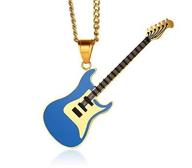 YABINI - Collar con Colgante de Guitarra acústica de Acero ...