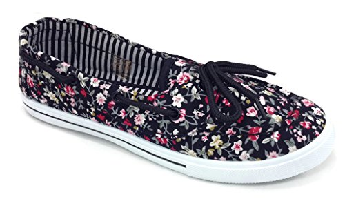 Tennis R Round Floral Perla Print Slip Canvas Boat Shoe RL Flat Toe up Lace Comfy amp;L 82 Sneaker On rqrZR