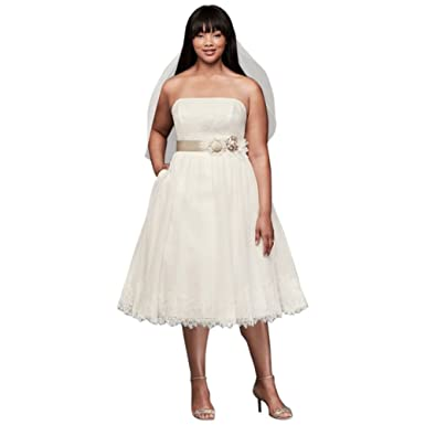 Davids Bridal Dotted Tulle Plus Size Tea Length Wedding Dress Style