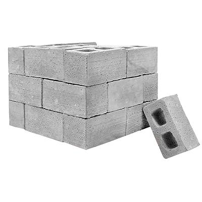 NszzJixo9 32Pcs Mini Cement Cinder Bricks Build Your Own Tiny Wall Mini Red Bricks,Mini Materials Miniature Cinder Blocks with Pallet (Gray): Toys & Games
