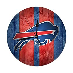 Dalean Buffalo- Bills- Vintage Clock, Silent Non Ticking Round Wall Decor Clocks for Bedroom Office
