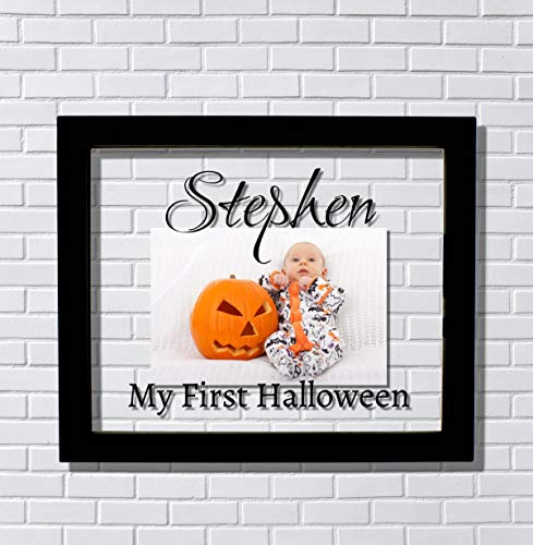 My First Halloween Frame - Floating Frame - My 1st Halloween - Custom Name - Photo Picture Frame - Personalized Customized]()