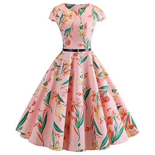 Sharemen Women Vintage 1950s Retro Short Sleeve V-Neck Printing Party Prom Swing Dress(Black,S) ()