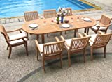New 9 Pc Luxurious Grade-A Teak Dining Set – 94″ Oval Table and 8 Stacking Arbor Arm Chairs #WHDSABg Review