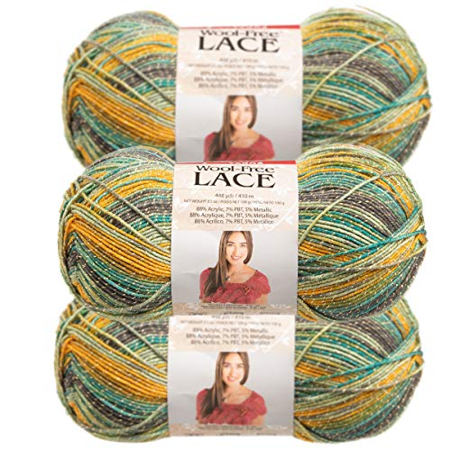 - Premier Yarns (3 Pack Wool-Free Lace Acrylic Blend Soft Parrot Yellow Green Gray Yarn for Knitting Crocheting 1