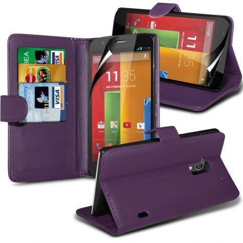 Motorola Moto G Cubierta del caso con cuero (Púrpura) Plus de regalo libre, Protector de pantalla y un lápiz óptico, Solicitar ahora mejor caja del teléfono Valorado en Amazon! By FinestPhoneCases