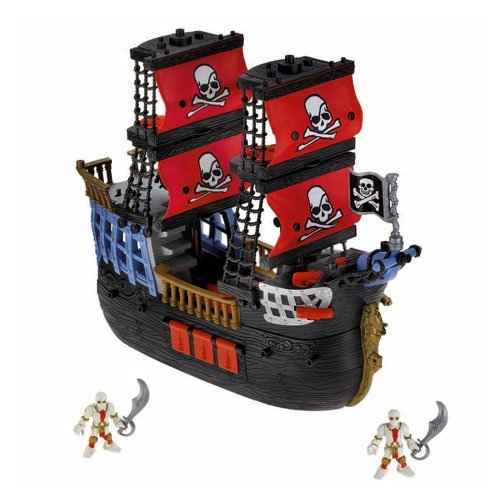 Fisher price Imaginext Black and Red Pirate Ship with 2 Figures Skull Bones Sails (Fisher Price Pirate Ship)