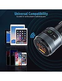 (Nueva versión) Bluetooth Transmisor FM para automóvil, QC3.0 Adaptador de transmisor de radio Wireles FM con cargador de doble puerto USB, equipo de llamada para manos libres para automóvil Compatible con unidad flash USB Reproductor de música