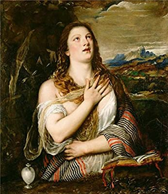 Oil Painting 'Penitent St Mary Magdalene, About 1555 - 1565 By Tiziano Vecellio' 16 x 18 inch / 41 x 47 cm , on High Definition HD canvas prints is for Gifts And Bed Room, Dining Room And Stud decor