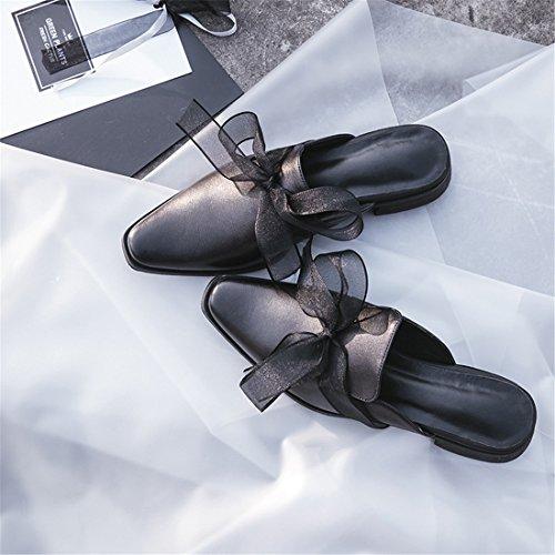 Block Heel Chunky Mules Slip Backless Platform Classic Womens 20118327 Black On Casual Axq86q0w