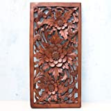 Balinese Traditional Lotus Flower Carved Wood Panel Bali Wall Art Architecturalor