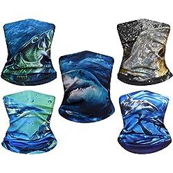 5pcs UV Headwear versátil al aire última intervensión Pañuelo para la cabeza, el cuello máscara de polainas, la pesca, la magia bufanda, Tubo de pasamontañas máscara, Cara Bandana Máscara, el cuello y el Deporte bufanda multifuncional elástico, 5PCS-Set-19