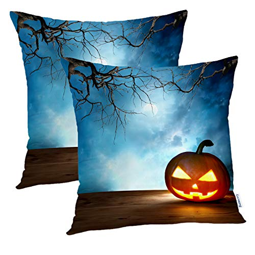 (Batmerry Halloween Pillow Covers 18x18 inch Set of 2,Halloween Pumpkin Scene Moon October Scary Border Spooky Horror Throw Pillows Covers Sofa Cushion Cover)