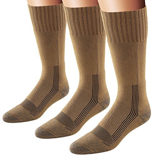 Fox River Men's Wick Dry Maximum Mid Calf Military Sock, 3 Pack (Coyote Brown, Large)