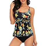 Zando Plus Size Bathing Suits for Women 2 Piece Plus Size Swimsuits Tummy Control Tankini Ladies Swimsuits Floral Printed Tankini Top with High Waisted Bathing Suits Bottom Z Pink Leaf 8-10