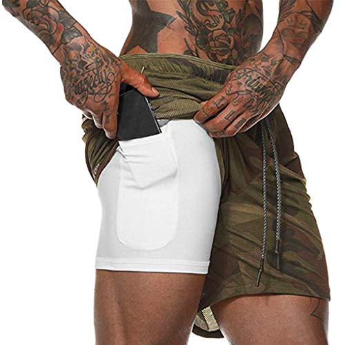 - Men's Workout Running 2 in 1 Shorts Training Gym Short with Pockets Fitness Short Pants (XL, Army Green)
