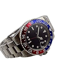 Whatswatch 40mm parnis black dial GMT red blue Bezel date window automatic mens watch PA-001