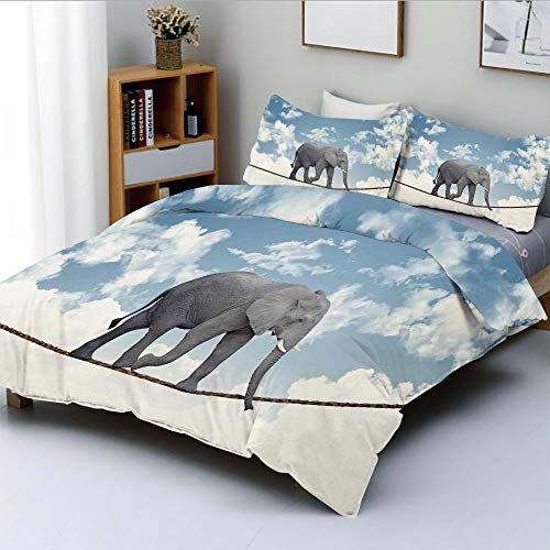 Duplex Print Duvet Cover Set Full Size,Classic African Elephant Walking on Rope Heavy Large Balance Cloudy SkyDecorative 3 Piece Bedding Set with 2 Pillow Sham,Best Gift for Kids & Adult