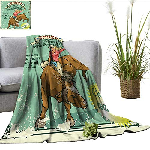 ScottDecor Retro Plush Throw Blanket Rodeo Cowgirl on The Bull Annual Championship Vintage Poster Pattern Grunge Design Fuzzy Blanket Multicolor W50 xL70