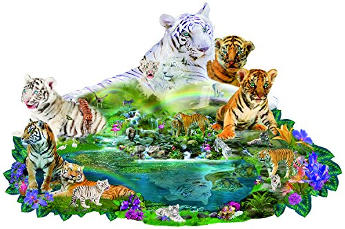 Tigers at the Pool 1000 pc Shaped Jigsaw Puzzle by SunsOut