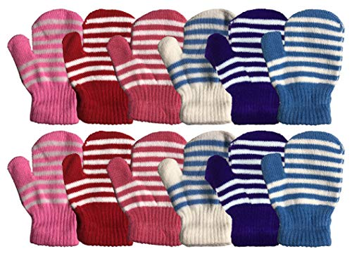 Childrens Gloves Magic (Yacht & Smith 12 Pair Kids Warm Winter Colorful Magic Stretch Gloves And Mittens For 2-5 Age Kids (Pack B))