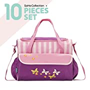 SoHo diaper bag Butterflies Meadows 10pcs nappy tote travel bag for baby mom dad insulated unisex durable multifunction large capacity includes changing pad stroller straps Pink Butterflies Meadows