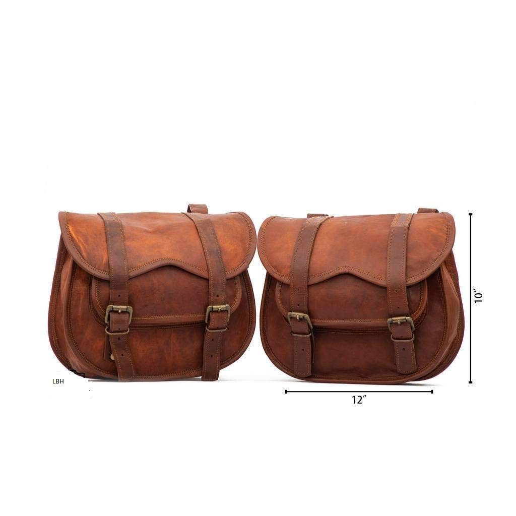 LBH 2 X Motorcycle Side Pouch Brown Leather Side Pouch Saddlebags Saddle Panniers 2 Bags