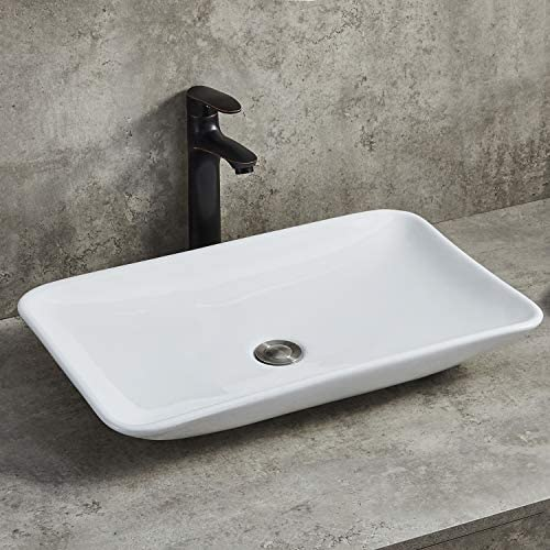 Ufaucet Above Counter White Porcelain Ceramic Bathroom Vessel Sink Without Drain Stopper